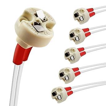 DiCUNO Bi-Pin Basis, G4, G6.35, GY6.35, GX5.3 MR16, GZ4 MR11, Halogen Glühlampen LED Sockel Keramik Lampenfassung (6 Stück)