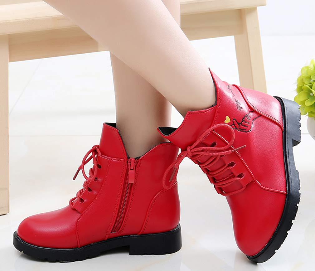 VECJUNIA Girl's Cartoon Ankle Martin Boots Zip Up Shoes School Uniform (Red, 2.5 M US Little Kid) by VECJUNIA (Image #6)