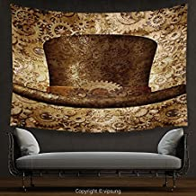 House Decor Tapestry Victorian Decor Collection Steampunk top hat as a science fiction concept made of metal copper gears and cogs Wall Hanging for Bedroom Living Room Dorm