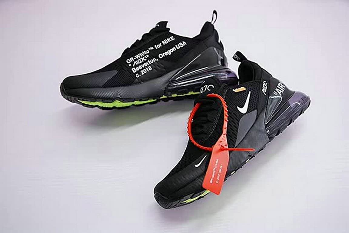 off White X Air Max 270 Black White Scarpe da Ginnastica