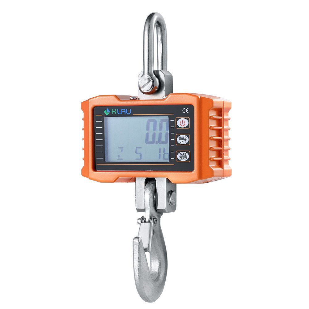 Klau 1000 lb Aluminum Case Digital Crane Scale Heavy Duty Industrial Hanging Scales Smart Weighing Tool Hoist