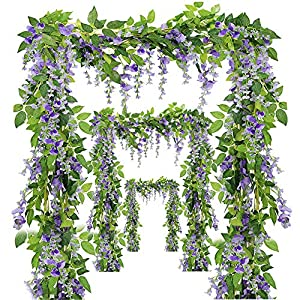Miss Bloom Artificial Wisteria Vine - 12-Pack 3.6 Ft Spring Hanging Flowers Décor | Silk Plants Garlands for Sweet Home Kitchen Wall |Fake Plant Rattan for Outdoor Wedding Party Decorations (Purple) 58