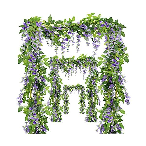 Miss Bloom Artificial Wisteria Vine – 12-Pack 3.6 Ft Spring Hanging Flowers Décor | Silk Plants Garlands for Sweet Home Kitchen Wall |Fake Plant Rattan for Outdoor Wedding Party Decorations (Purple)