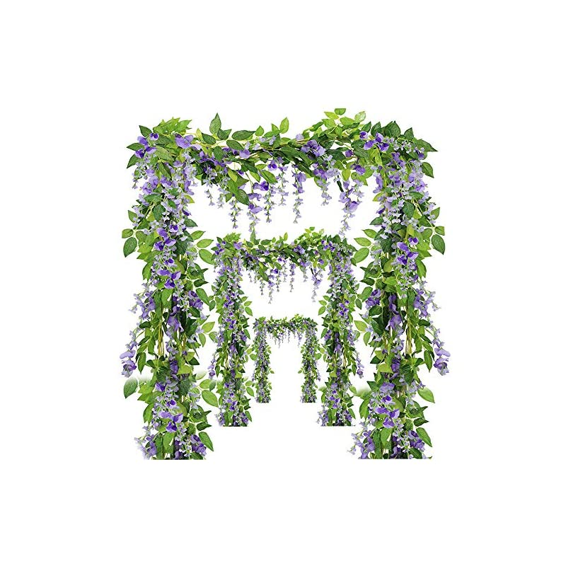silk flower arrangements ms bloom artificial wisteria vine - 12-pack 3.6 ft spring hanging flowers décor, silk plants garlands for sweet home kitchen wall, fake plant rattan for outdoor wedding party desk decorations (purple)