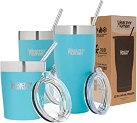 Healthy Human Insulated Tumbler Cruisers with Stainless Steel Straw & Clear Lid. - Keeps Hot & Cold Beverages 2 Times Longer - Vacuum Double Walled Thermos (12 oz, Glacier)