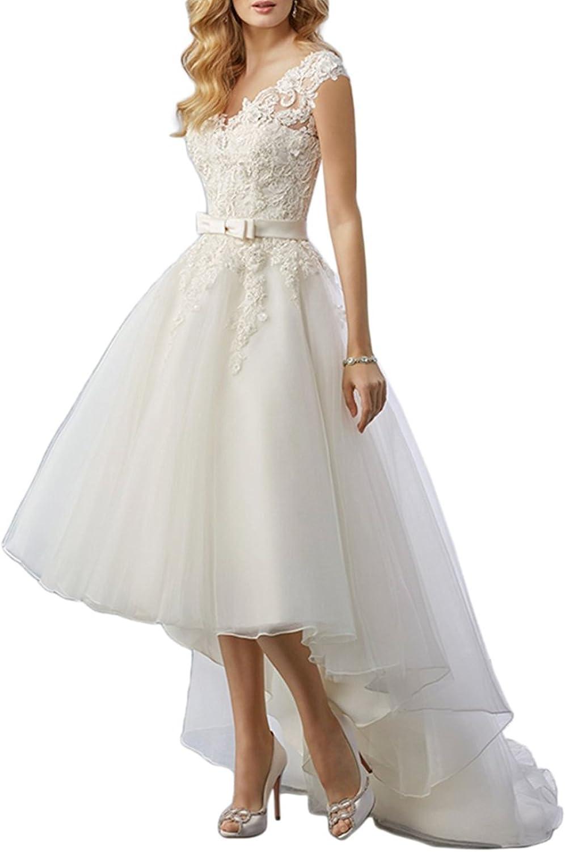 Women's Lace High Low Short Tea Dress Length Bridal Gown Super intense SALE Wedding San Francisco Mall