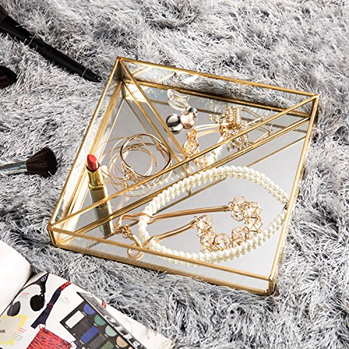 MyGift Vintage Style Brass-Tone Metal Mirror Vanity Tray with 3-Compartments by MyGift