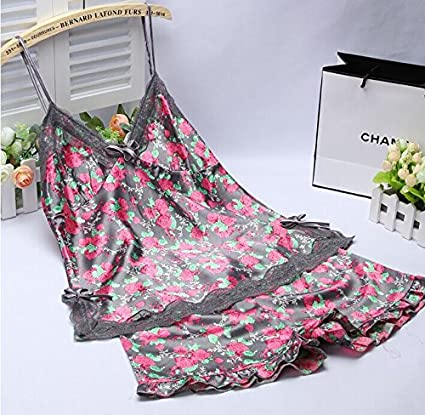 Wanglele Camisón Mujer Batas De Seda De Simulación De Alta Calidad Tirantes Florales Camisón Mujer Overoles