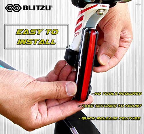 BLITZU Ultra Bright Bike Light Cyborg 168T USB Rechargeable Bicycle Tail Light. Red High Intensity Rear LED Accessories Fits On Any Road Bikes, Helmets. Easy to Install for Cycling Safety Flashlight by BLITZU (Image #7)