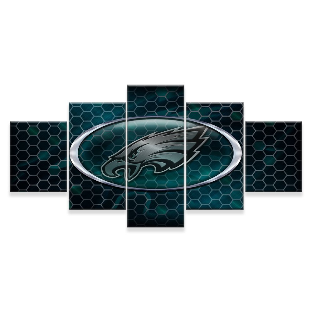[Small] Premium Quality Canvas Printed Wall Art Poster 5 Pieces/5 Pannel Wall Decor Philadelphia Eagles Painting, Home Decor Pictures - Stretched by PEACOCK JEWELS