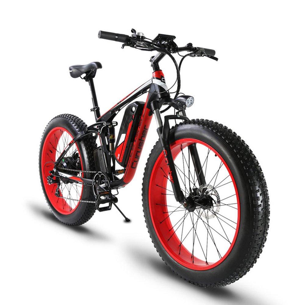 Cyrusher XF800 ファットバイク 電動アシスト自転車 17×26インチ マウンテンバイク1000W 48V13An アルミフレーム FATBIKE迫力の極太タイヤ スノーホイール B075GDT1FX レット レット