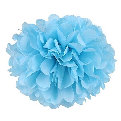 5 Pcs Pompom Papier Soie Bleu Ciel 20cm Fleur Boule Pompon