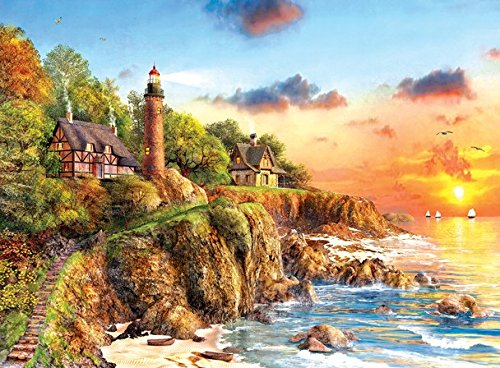 Beach Scene Lighthouse - Sunset at Craggy Point - Lighthouse Beach Scene Puzzle - 1000 Piece Jigsaw Puzzle by SunsOut