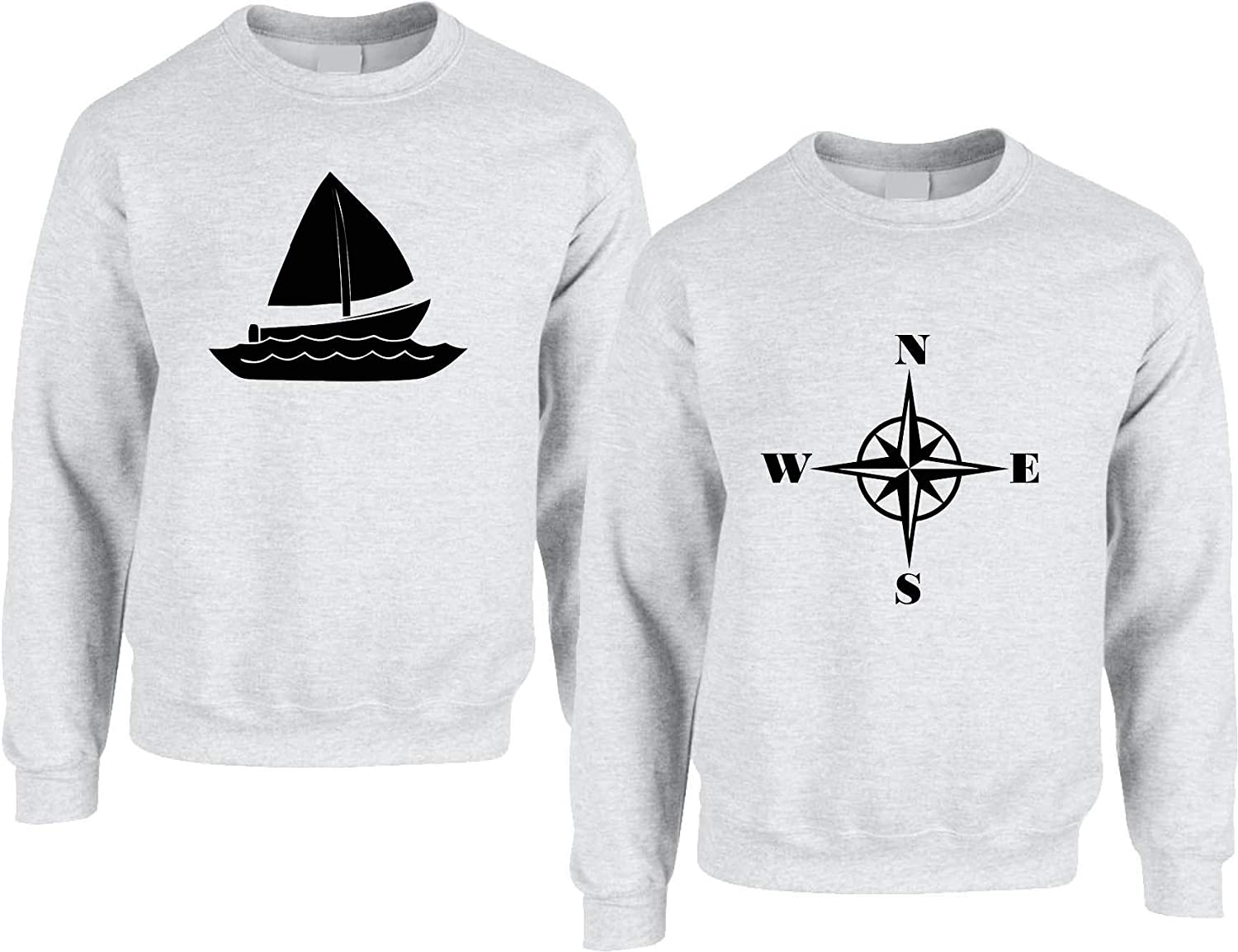 Womens S Mens M, Red Allntrends Couple Sweatshirt Sailing Boat and Compass Matching Valentines Tops
