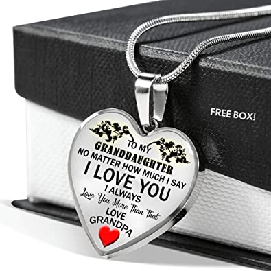 Amazon AZ Gifts Love Grandpa Granddaughter Heart Pendant