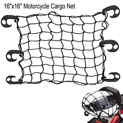 "Mougerk Motorcycle Bike Bungee Cargo Net 16""x16"" Stretches to 32""x32""Mesh 2""x2"" with 6 Hooks (Black): Automotive"