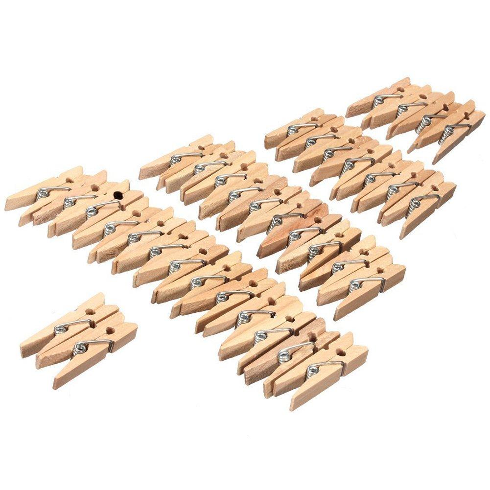 Haodou 50 mini mollette colorate in legno da 3,5 X 0,7 cm ideali anche per decorare la casa Nero mollette per il bucato 3.5*0.8cm clip per foto