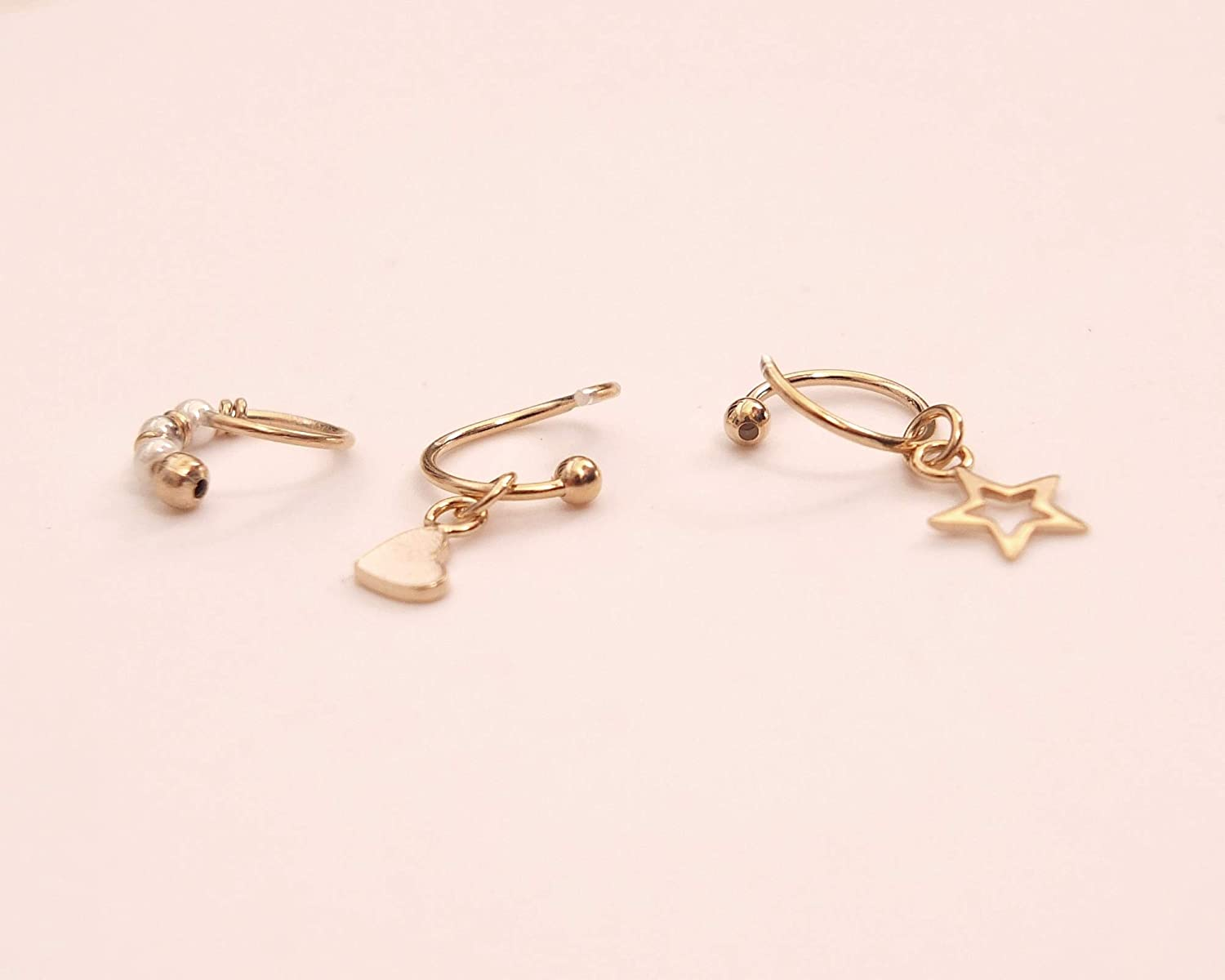 Cartilage Set of 3 Tiny 8mm Gold Handmade Hoops Helix Heart /& Star /& White beaded Hoops for Nose ring