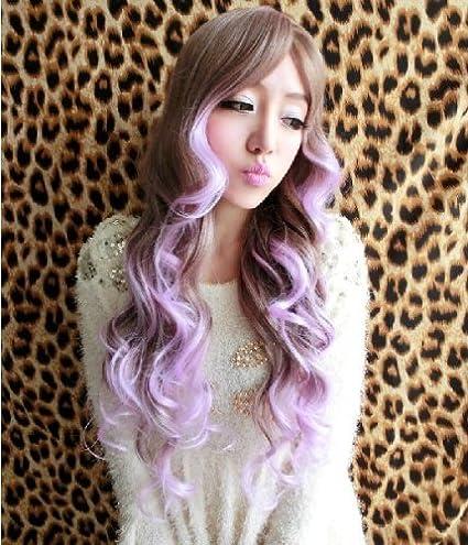 X & Y ANGEL- nueva dos tono relieve peluca de pelo largo, ondulado peluca