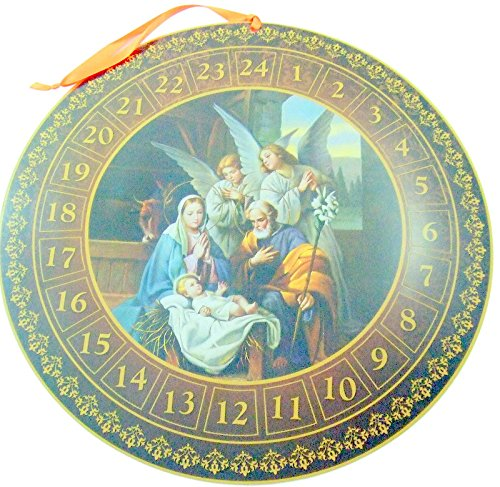 Round Nativity Advent Calendar Christmas Home Decoration Gift 13 3/4 Inch Dia by CB Catholic