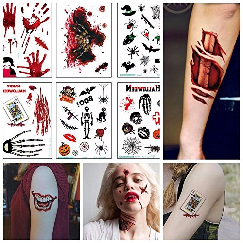 Leegoal(TM) Halloween Temporary Tattoos 10 Sheets, with Bloody Wound Scars Scab Spiders Pumpkin Waterproof Stickers for Halloween Party Cosplay (Non Smudge Halloween Makeup)