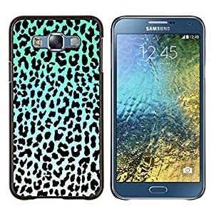 EJOOY---Cubierta de la caja de protección para la piel dura ** Samsung Galaxy E7 E700 ** --patrón de leopardo azul verde blanco negro