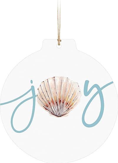 Amazon Com P Graham Dunn Joy Seashell Classic White 3 X 3 Wood Decorative Hanging Figurine Ornament Home Kitchen