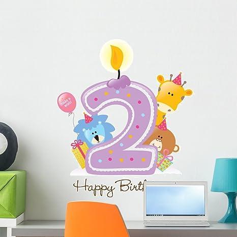 Amazon.com: Feliz cumpleaños vela y calcomanía de pared ...