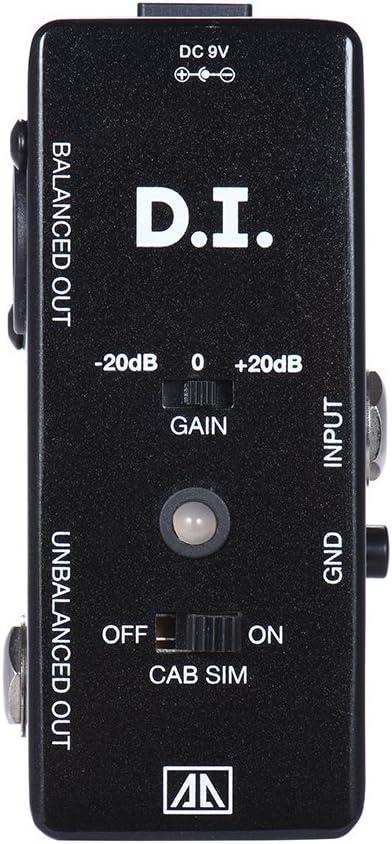 ammoon AROMA AMX-5 Gabinete Simulador de la Caja de DI Pedal de Efectos de Guitarra Transfiere Guitarra/Bajo Señal Directamente al Sistema de Audio Cuerpo de Aleación de Aluminio