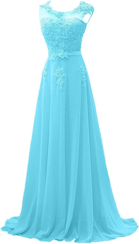 Brautjungfernkleider Lang Chiffon Ballkleid A-Linie Abendkleider