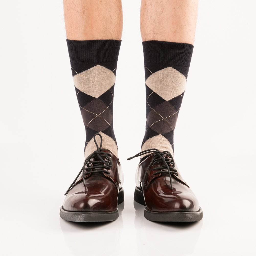 65110e65d9d Mens Antibacterial Dress Socks-Argyle and Stripe Classic Casual ...