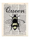 Queen Bee Vintage Art Print – Bee Themed Home Decor – Bee Wall Art – Recycled Dictionary Page Art – UNFRAMED Picture