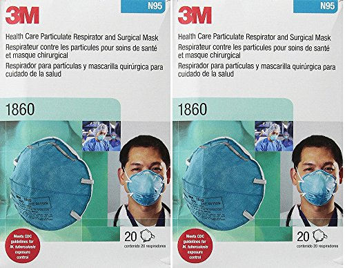 3M 1860 N95 RESPIRATOR AND SURGICAL Bkelp MASK, 20 Count ...