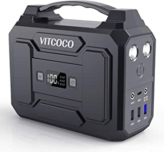 VITCOCO Portable Power Station 100W 167Wh/45000mAh Solar Generator Backup Power Supply Lithium Battery with Dual 100V AC Outlet 12V DC Ports 4 USB Ports for Home Emergency & Outdoors Camping Travel