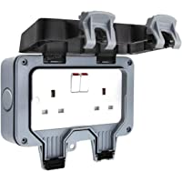 Outdoor Sockets Waterproof Double Socket,ShowTop Wall Electrical Outlets,IP66 Switched Socket Covers,13A Outdoor Wall…