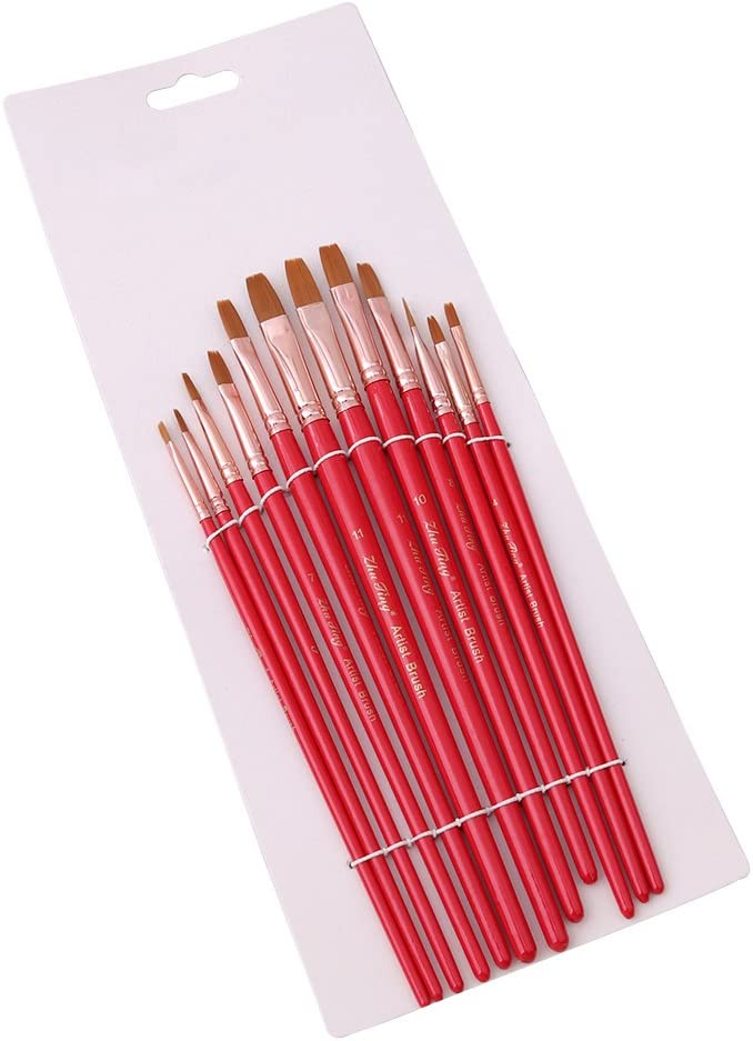 Yesiidor 12 Pieces Paint Brushes Set Artist Paintbrush Set For Acrylic Watercolor Oil Painting