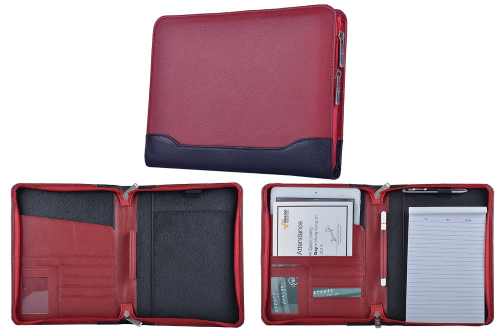 Compact Leather Organizer Padfolio for A5 Notepad and Tablet,Red