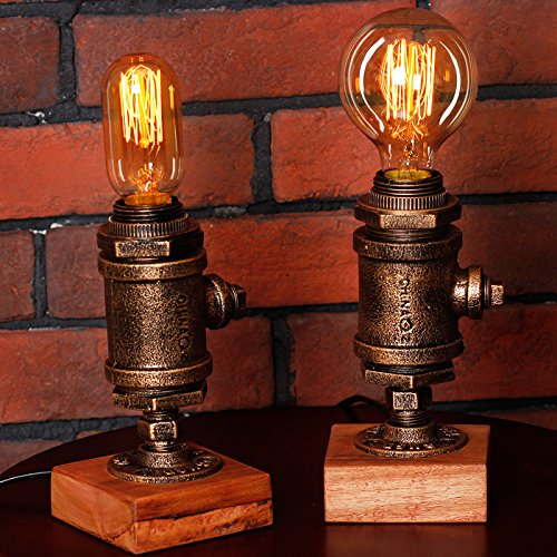 Y-Nut Loft Style Lamp Steampunk Industrial Vintage Style, Water Pipe Table Desk Light with Dimmer BTN16-0602, Aged Rustic Bronze Metal by Y-Nut (Image #3)