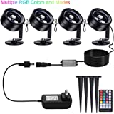 Pond Lights Remote Control Submersible Lamp IP68 Totally Full Waterproof Underwater Aquarium Spotlight Multicolor Decoration Landscape Lamp for Swimming Pool Fish Tank Fountain (Set of 4)