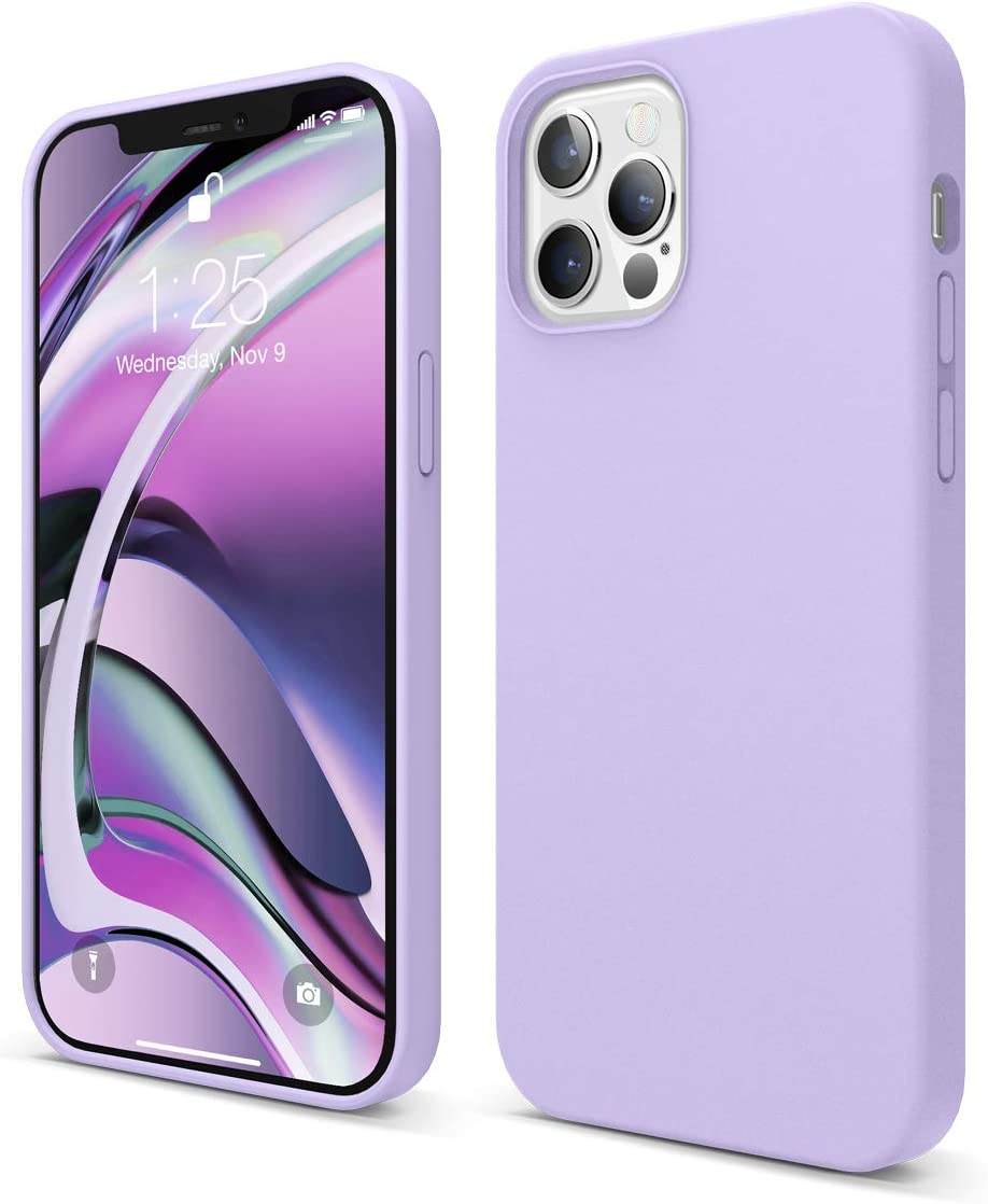 elago Liquid Silicone Case Compatible with iPhone 12 and Compatible with iPhone 12 Pro 6.1 Inch (Lavender) - Full Body Protection (Screen & Camera Protection)