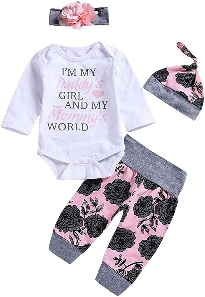 Pants Hat Hair Band Newborn Heart Romper Jumpsuit Headband XUANOU Baby Girl Long Sleeve Letter Love Flower Printed Lace