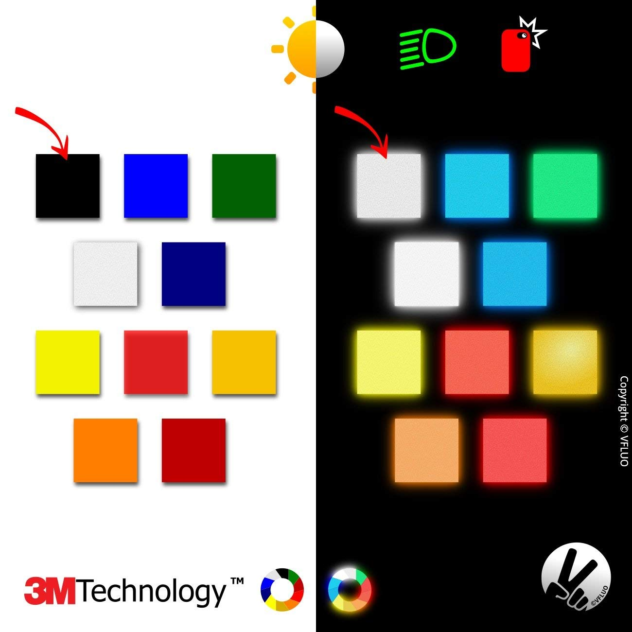 VFLUO 3M REFLECTIVE COLORS Red Universal adhesive DIY kit for Helmet//motorbike//Scooter//Bike 3M Technology 10 x 15 cm sheet
