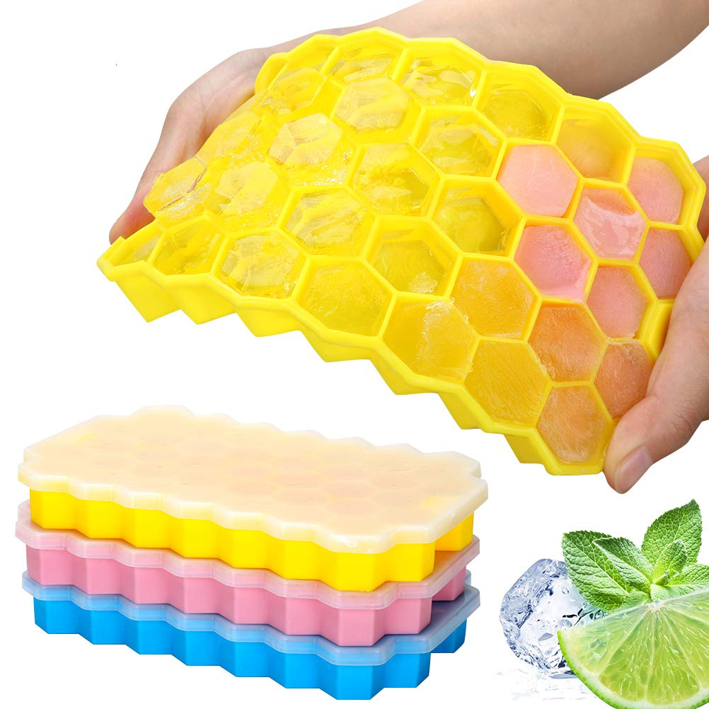 Silicone Ice Cube Trays 3 pack -Easy-Release and Flexible Ice Trays with Spill-Resistant Removable Lid, LFGB Certified and BPA Free, Stackable Durable and Dishwasher Safe