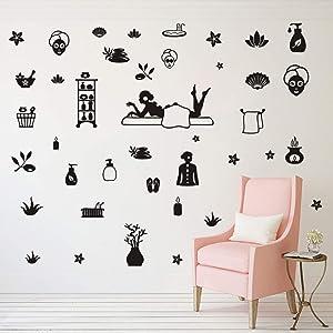 DIY 60pcs/Set Art Massage Yoga Vinyl Wall Sticker Yoga Room Spa Wall Decor Stickers Wall Decal Massage Salon Health Therapy Interior Decoration Window Vinyl Stickers AM111(Black)