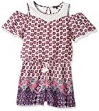My Michelle Big Girls' Short Sleeve Cold Shoulder Romper, Ivory/Plum, L