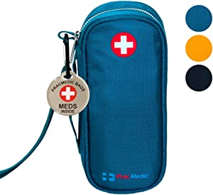 "PRACMEDIC EpiPen Medicine Case for Emergencies - Fashionable, Insulated, Teal, 8"" - Storage Bag Holds 2 EpiPens, Auvi Q, Antihistamine and Medicine - Easy Access (with Alert Tag)"