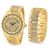 Gold Plated Bling Master Watch & Bracelet Set Iced Out with CZ Stones + Microfiber Jewelry Polishing Cloth