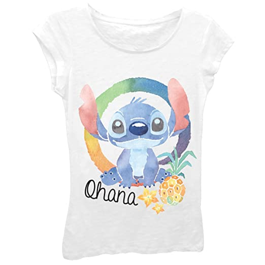 29eceafc4457 Amazon.com: Disney Girls' Lilo & Stitch Ohana Stitch Short Sleeve Tee:  Clothing