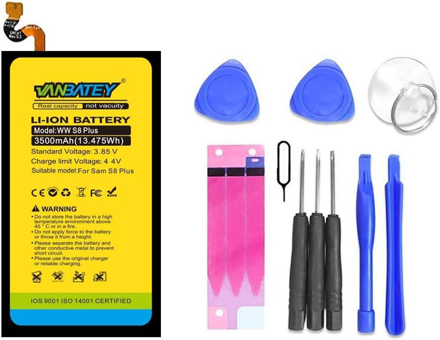 Vanbatey Galaxy S8 Plus Kit de reemplazo de batería 3500mAh EB-BG955ABE Ion de litio interno para G955 G955F G955A G955U G955V Teléfono con herramientas de instalación