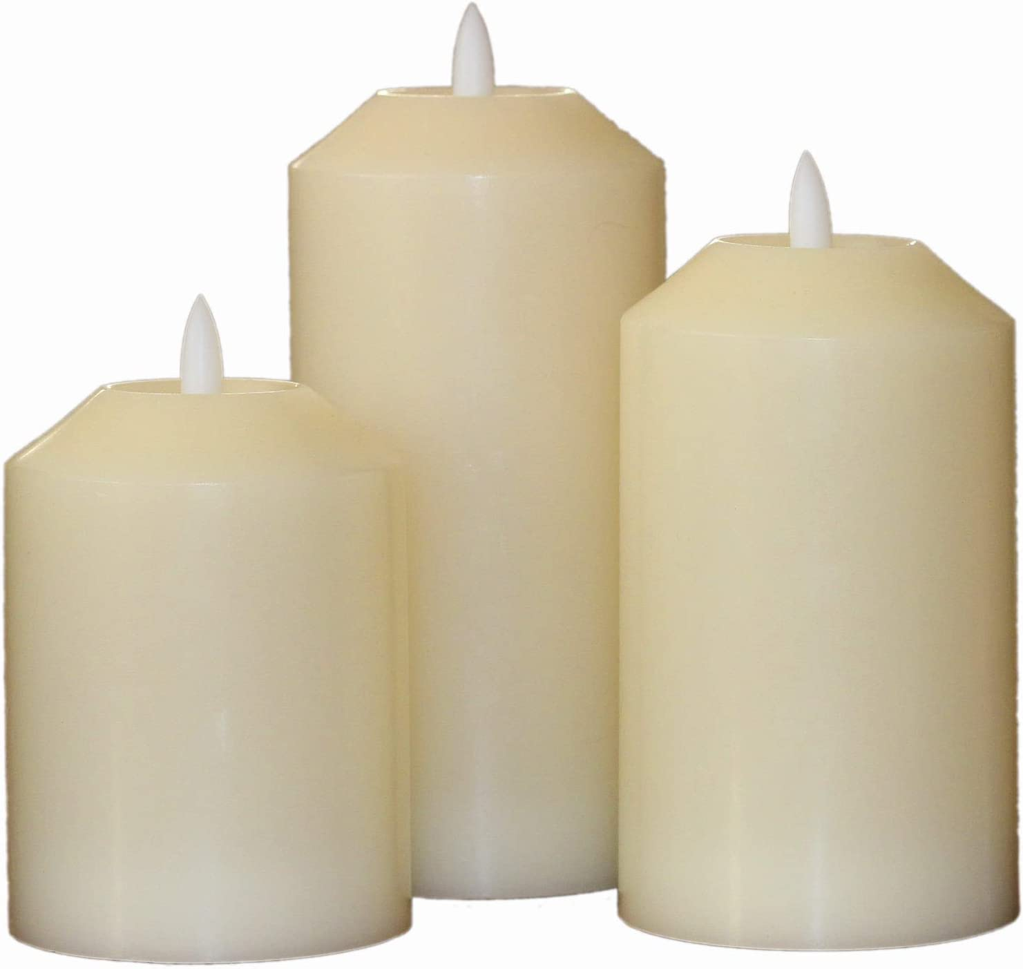 Vanilla Scented Flameless Candles with Timer (8 Hour). Set of 3 White Wax Battery Operated Night Light Candles. Realistic 3D Flickering Flame. 4 5 6 inch Electric LED Pillar Candles.
